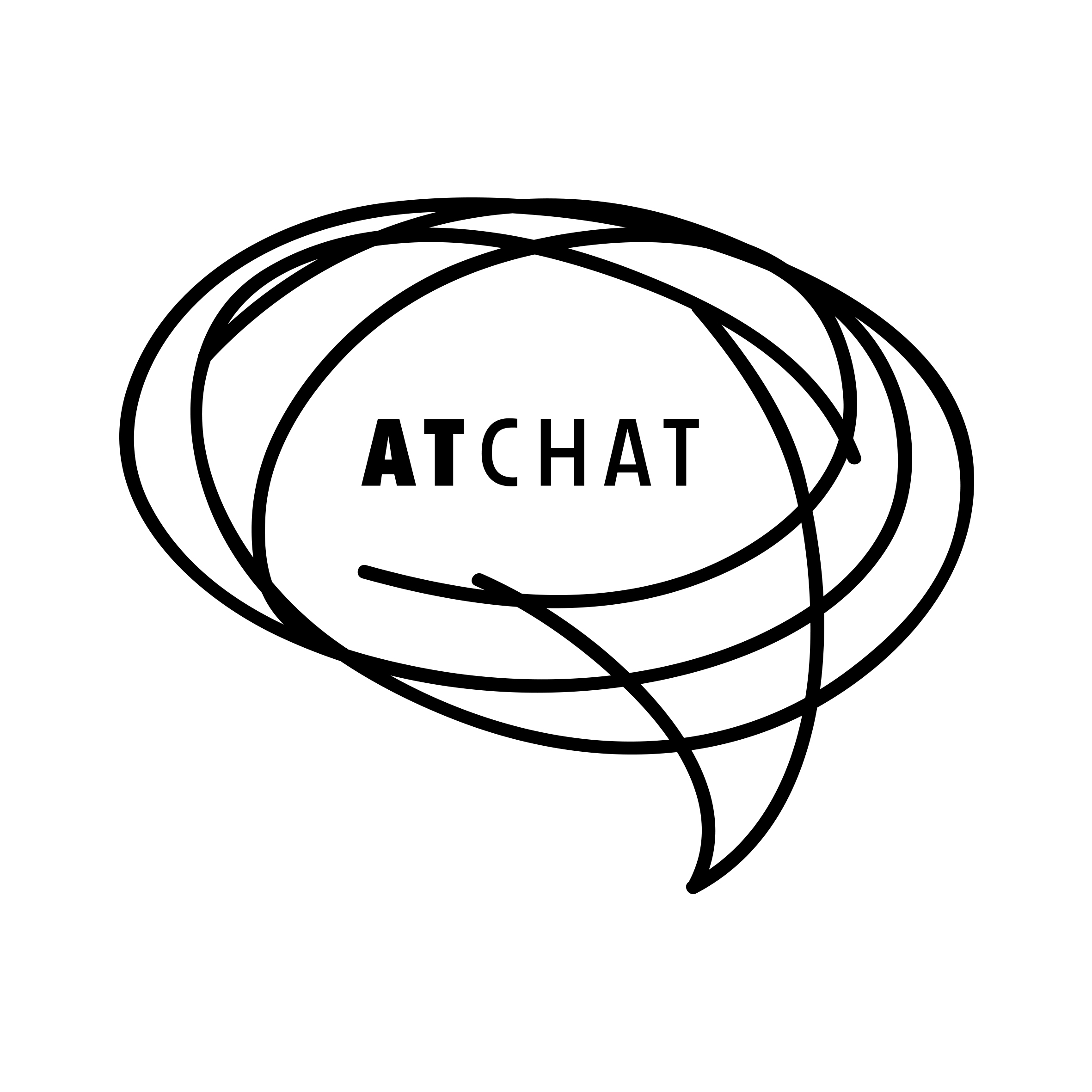 AT Chat logo, speech bubble with at chat written inside