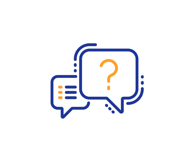 question symbol and list icon in speech bubbles